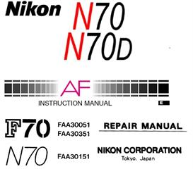 nikon n70 n70d f70 f70d repair & instruction manuals