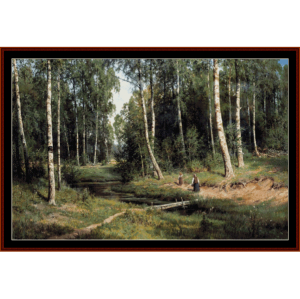 brook in birch forest - shishkin cross stitch pattern by cross stitch collectibles