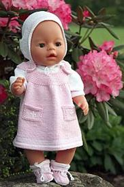 dollknittingpattern - 0025d annelin - body-summer dress-pants-hat and socks