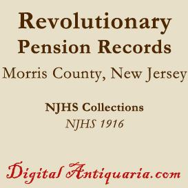 revolutionary pension records of morris county (new jersey)