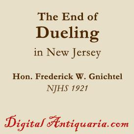 end of duelling in new jersey