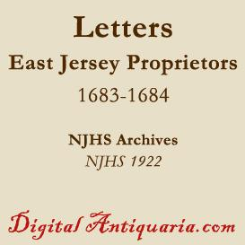 east jersey proprietors letters, 1683-'84
