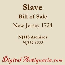 slave bill of sale 1724