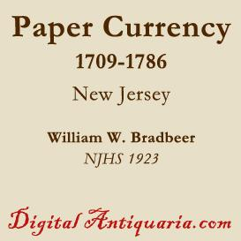 new jersey's paper currency, 1709-1786