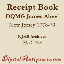 revolutionary receipt book (dqmg james abeel 1778-'79)