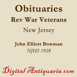 obituaries of new jersey revolutionary veterans