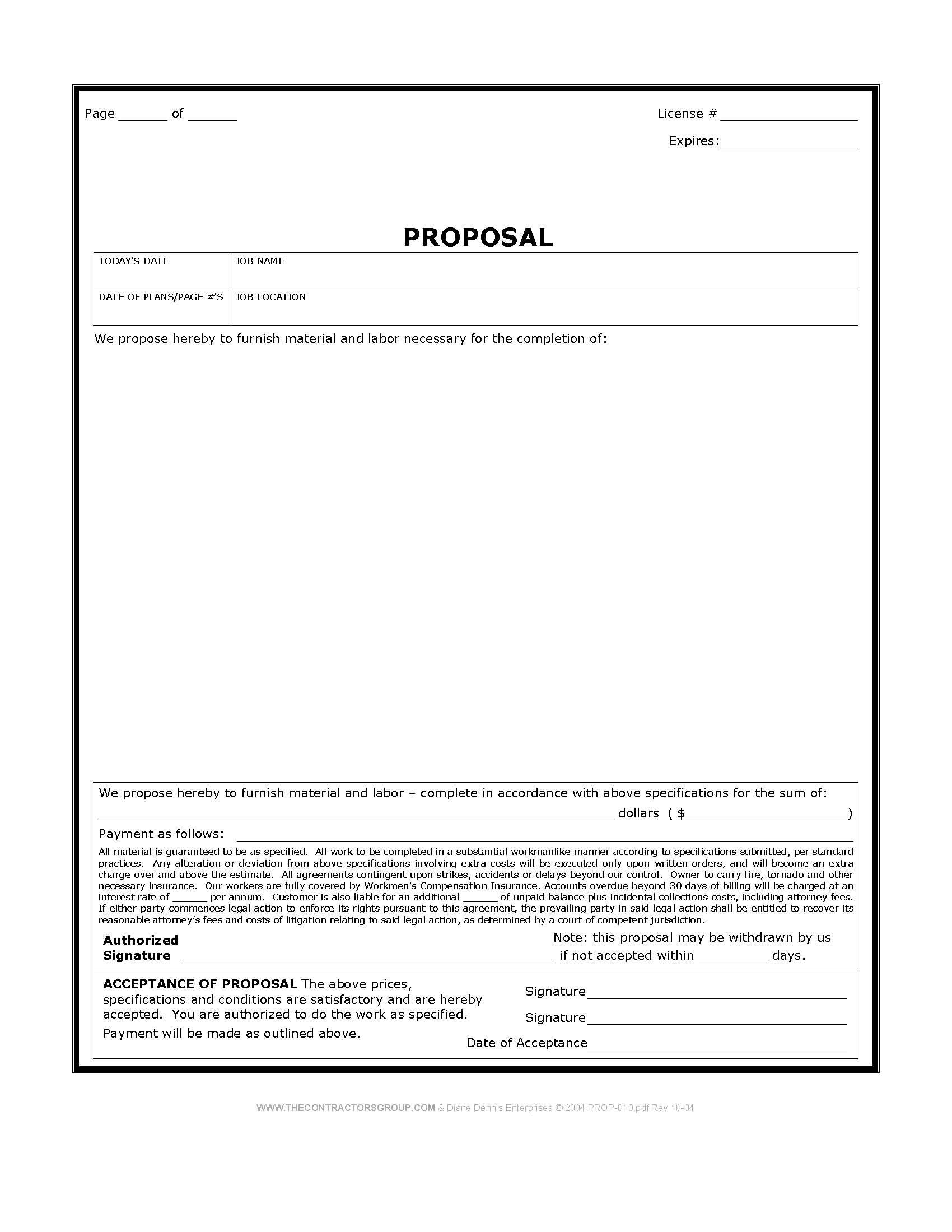 Bid Proposal | Construction Proposal Form Bid Form Estimate Form Style 3