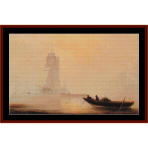 fishing boats in a harbor cross stitch pattern by cross stitch collectibles