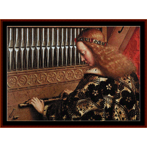 angel playing music ii - van eyk cross stitch pattern by cross stitch collectibles