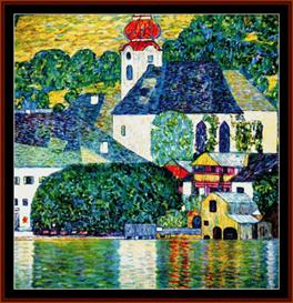 kirche in unterach - klimt cross stitch pattern by cross stitch collectibles