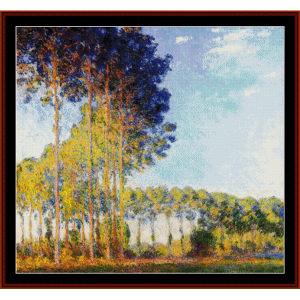 poplars on the epte - monet cross stitch pattern by cross stitch collectibles