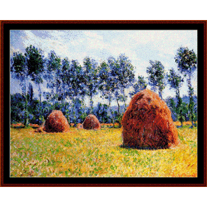 haystacks at giverny - monet cross stitch pattern by cross stitch collectibles