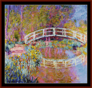 bridge in monets garden - monet cross stitch pattern by cross stitch collectibles