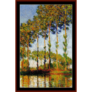 poplars in autumn - monet cross stitch pattern by cross stitch collectibles