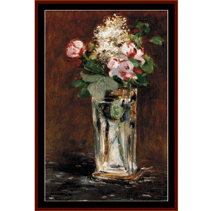 flowers in crystal vase ii - manet cross stitch pattern by cross stitch collectibles