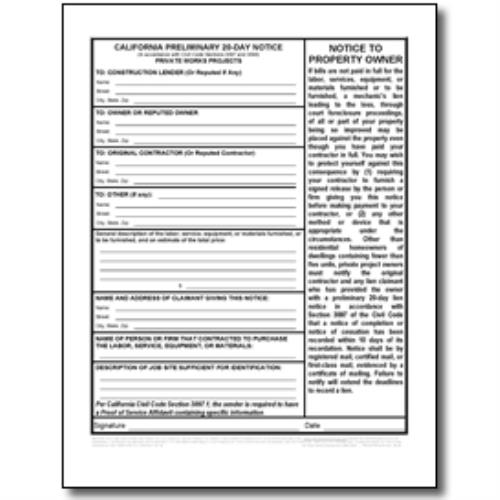 California 20-Day Preliminary Notice forms Private Works | Documents and Forms | Building and Construction