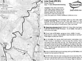 lime creek road sw colorado jeep trail map guide bw printable