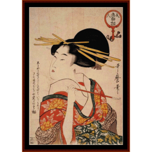 woman with pipe - asian art cross stitch pattern by cross stitch collectibles