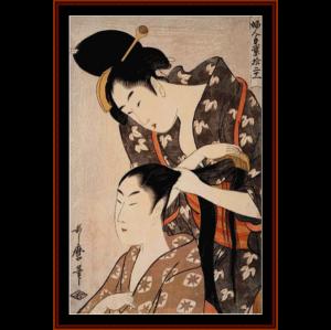 hairdresser - asian art cross stitch pattern by cross stitch collectibles