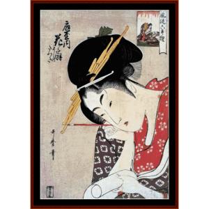 ogiya hanaogi - asian art cross stitch pattern by cross stitch collectibles