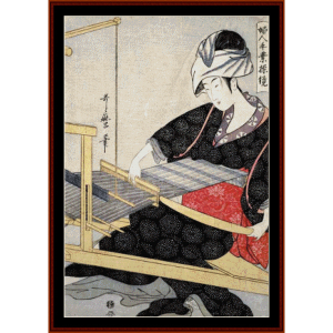 weaving on a loom - asian art cross stitch pattern by cross stitch collectibles