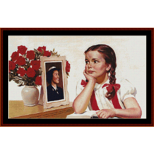 little sister - americana cross stitch pattern by cross stitch collectibles