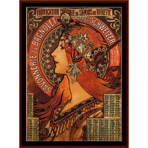 Savonnerie de Bagnolet - Mucha cross stitch pattern by Cross Stitch Collectibles | Crafting | Cross-Stitch | Wall Hangings