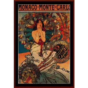 monaco - monte carlo 1897 - mucha cross stitch pattern by cross stitch collectibles