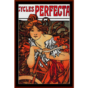 perfecta cycles 1902 - mucha cross stitch pattern by cross stitch collectibles