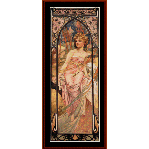 morning awakening - mucha cross stitch pattern by cross stitch collectibles