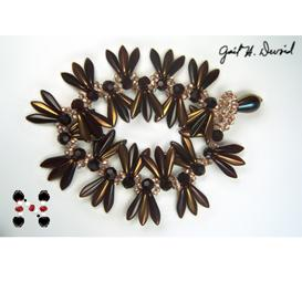 copper dagger and farfalle butterfly seed bead bracelet pattern