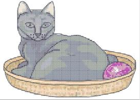 Cat in a Basket Cross Stitch Pattern | Crafting | Cross-Stitch | Other