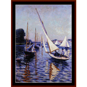 Regatta at Argenteuil - Caillebotte cross stitch pattern by Cross Stitch Collectibles | Crafting | Cross-Stitch | Wall Hangings