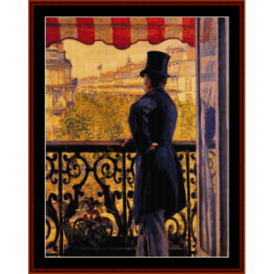 man on balcony - caillebotte cross stitch pattern by cross stitch collectibles