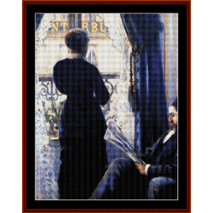 interior - caillebotte cross stitch pattern by cross stitch collectibles
