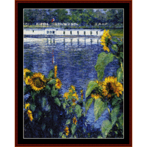 sunflowers on the seine - caillebotte cross stitch pattern by cross stitch collectibles