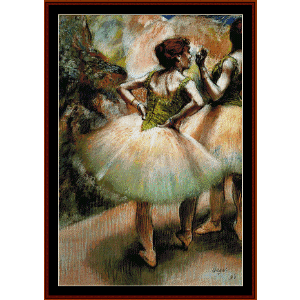 dancers pink and green i - degas cross stitch pattern by cross stitch collectibles