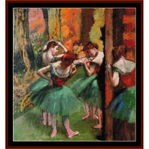 dancers pink and green ii - degas cross stitch pattern by cross stitch collectibles