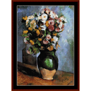 flowers in olive jar - cezanne cross stitch pattern by cross stitch collectibles