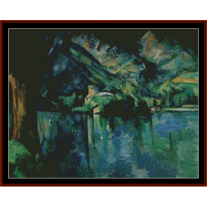lake annecy - postersize - cezanne cross stitch pattern by cross stitch collectibles