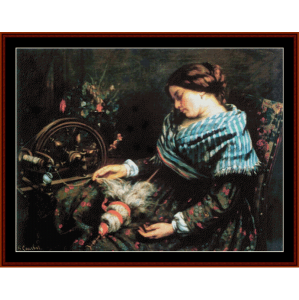 the sleeping spinner - courbet cross stitch pattern by cross stitch collectibles