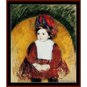 margot in somber red - cassatt cross stitch pattern by cross stitch collectibles