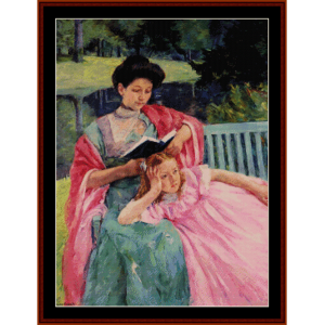 mary august reading - cassatt cross stitch pattern by cross stitch collectibles