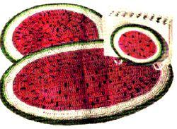 Watermelon Hot Plate Mats & Napkin Holder Crochet Pattern | eBooks | Arts and Crafts