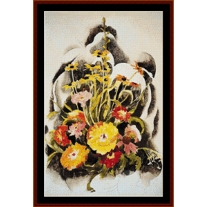 zinnias and black eyed susans - demuth cross stitch pattern by cross stitch collectibles