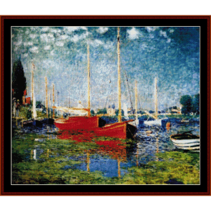red boats at argenteuil - monet cross stitch pattern by cross stitch collectibles