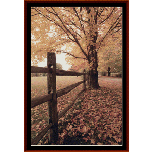 autumn lane - nature cross stitch pattern by cross stitch collectibles