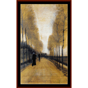 avenue with trees - van gogh cross stitch pattern by cross stitch collectibles