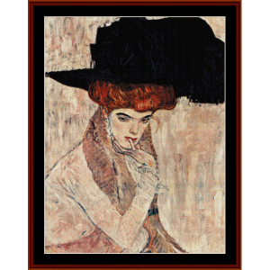 black feather hat - klimt cross stitch pattern by cross stitch collectibles