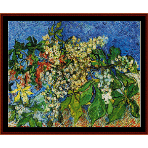 blooming chestnut branches - van gogh cross stitch pattern by cross stitch collectibles